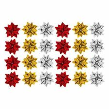 Pack of 24 Metallic Christmas Present Gift Bows (Red, Gold & Silver)