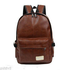 Mens Womens PU Leather Backpack Brown Bookbag Casual Travel School Laptop Bags