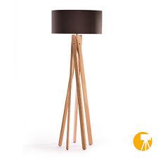 Tripod Stehleuchte Anthrazit Buche Holz Stativ Design Stehlampe Leuchte H=160cm