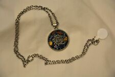 925 Sterling silver Mexican inlaid Pendant, Incan sun and temple, with chain vtg