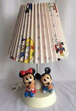 Vintage 1984 WALT DISNEY Baby Mickey Minnie Mouse Nursery Lamp w/ Night Light