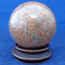 Antique Polished Flecked Coral Colour Granite Stone Ball Sphere on Wooden Stand