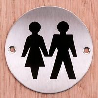CIRCULAR ROUND UNISEX BATHROOM DOOR SIGN Pub/Shops/Business Ladies Gents Plate