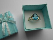 Beautiful 3 Carat BLUE TOPAZ + DIAMONDS RING 10K Solid Y Gold Size 7 Estate