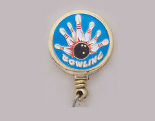 BOWLING Retractable ID Security Card Holder/Badge Reel/Key Chain Ring Pin Ball