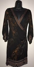 HALE BOB Black Faux Wrap Dress 100% Silk Jersey Feathers Print Sz Small