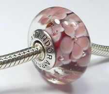 EXTRA LARGE PANDORA 925 ALE SILVER MURANO GLASS PINK FLOWERS CHARM 790753