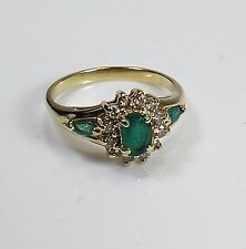 Beautiful Estate Natural Emerald and Diamond Band Ring,14 k gold, size 6.5