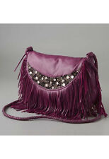 "$575 ANTIK BATIK NET-A-PORTER ""BONGO"" BERRY LEATHER SEQUIN FRINGE CROSS BODY BAG"