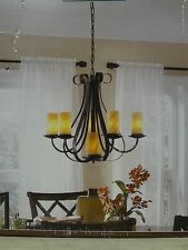 "BNIB ""ALLEN & ROTH"" AGED BRONZE FINISH NATURAL STONE SHADES 6 LIGHTS CHANDELIER"