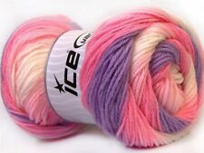 Lot of 4 x 100gr Skeins Ice Yarns MAGIC BABY Wool Lilac Pink White