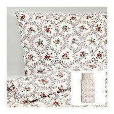 IKEA HALLROT - Duvet Cover and Pillowcase Twin White Red Floral Cotton NEW