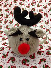 Hand knitted Christmas Rudolf the red nose reindeer tea cosy