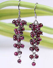 Red Garnet Beads Cluster Grape White Gold Plated Hook Earrings