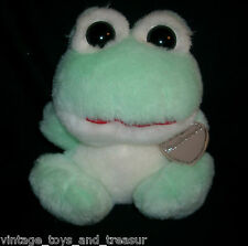 "7"" VINTAGE HEARTWARMERS GREEN BABY FROG STUFFED ANIMAL PLUSH TOY W/ PLASTIC TAG"