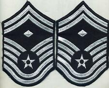 US Air Force Senior Master 1st First Sergeant Lot 2 Arm Patchs Blue Stripes