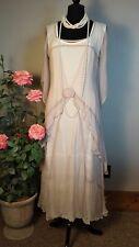Nataya VINTAGE STYLING Pink/Cream Gown Sheer Bridal Layered LONG Dress XL