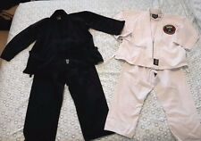 Tae Kwon Do Karate Judo Children Suit Size 0 Lot of 2 - Black & White Bold Look