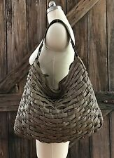 Vintage TANO Buttery Soft Leather Weaved XL Hobo Bag Purse Distressed