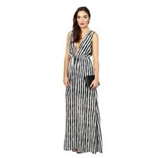 "BNWT "" Twin Sister "" Size 10 Black White Stripe V Neck Plunge Maxi Dress RRP £55"