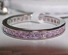 925 STERLING SILVER PINK PRINCESS CUT ETERNITY CHANNEL BAND RING SIZE 9.5