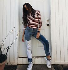 Brandy Melville Red White Black Striped Ribbed Turtleneck Long Sleeve Top Nwt