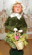 Byers Choice Spring Open House Spring Girl with Basket Flower 2014 Signed Joyce*