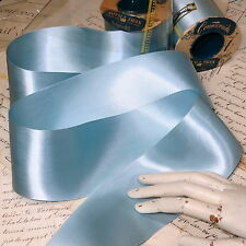 10y VTG SPOOL BLUE DBLL FACE SATIN SILKY RAYON RIBBON TRIM MILLINERY HAT
