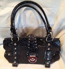 Vintage GUESS Satchel Purse Bag Rocker Style Black with Heavy Silver Hardware