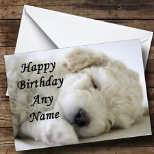 Gorgeous Bichon Frise Puppy Dog Asleep Personalised Birthday Greetings Card