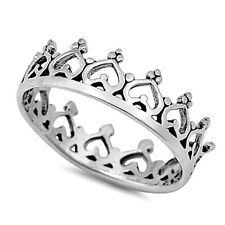 .925 Sterling Silver Ring size 4 Heart Crown Midi Knuckle Kids Ladies New p60
