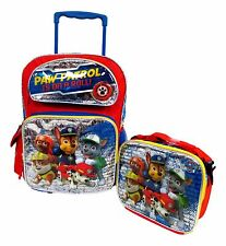 "Paw Patrol Large 16"" Rolling Backpack Wheeled Book Bag & Lunch Box"