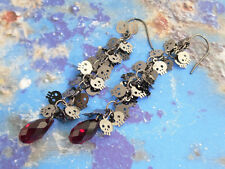 Tiny Skulls & Blood Drop earrings– gothic black with ruby red Swarovski crystals