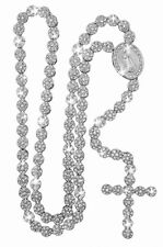 """Iced Out Siver CZ Round Flower Cluster Rosary Cross Chain 36"""" Necklace"""