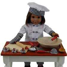 "18"" Doll Clothes & Accessories Fit American Girl Chef Outfit,+11 pc Set Bake Set"