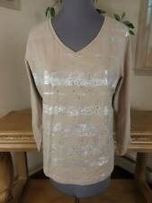 ZENERGY BY CHICO'S SIZE 1 TAN SILVER STUDDED AND FOIL FRONT 3/4 SLEEVE KNIT TOP