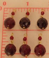 6 Czech glass pendants drops made of 2 size dark red faceted beads w/ gold loops