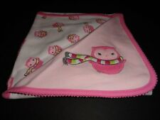 NWT Gymboree Cozy Pals Owl Girl's Pink White Reversible Blanket New