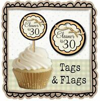 PERSONALISED BIRTHDAY CUP CAKE FLAGS & TAGS Favour Gift Label Topper Pop Party