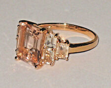 10K ROSE GOLD 4.50CTW EMERALD CUT PEACHY PINK MORGANITE RING 3.9 GRAMS SIZE 6