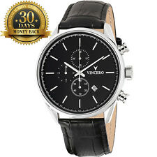 New Vincero Watch Chrono S Black Leather Strap 12 Hour Dial Men's Wrist Watch