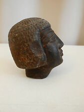 Egyptian Stone Head, Basalt, Old Kingdom Style, Statue. Antique? Antiquity?