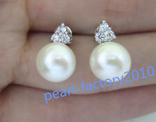 natural 9-10MM AAA PERFECT south sea white pearl earrings Fine Silver