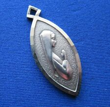 VINTAGE STERLING SILVER PENDANT VIRGIN MARY RELIGIOUS LOURDES FRANCE