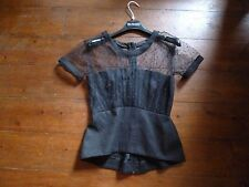 BNWOT THE KOOPLES BLACK NET PEPLUM TOP, XS, 4-6.