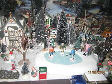 "TRAIN VILLAGE HOUSE "" WINTER HOCKEY ICE SKATING POND "" plus+ DEPT 56/LEMAX info!"