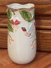 "Otagiri Ruby Throated Hummingbird Pottery Vase Handcrafted in Japan, Embossed 7"""
