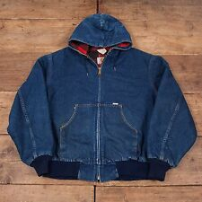 "Mens Vintage Carhartt Denim Blanket Lined Workwear Hooded Jacket XXL 52"" R5147"