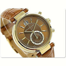 NWT Michael Kors Women Watch Brown Embossed Leather Gold Case SAWYER MK2424 $275
