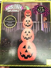 Halloween Gemmy Airblown Inflatable Pumpkin Stack 7 Ft Tall New in Box
